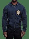 Psych Hex Zip Hooded Sweatshirt Navy Heather/Gold