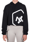 Hex Outline Cropped Hoodie Black/White