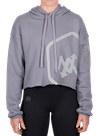 Hex Outline Cropped Hoodie Gray/Off-White