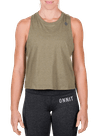 Mini Hex Cropped Racerback Tank Heather Olive/Gray