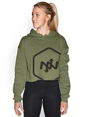 Hex Outline Cropped Hoodie Hero Image