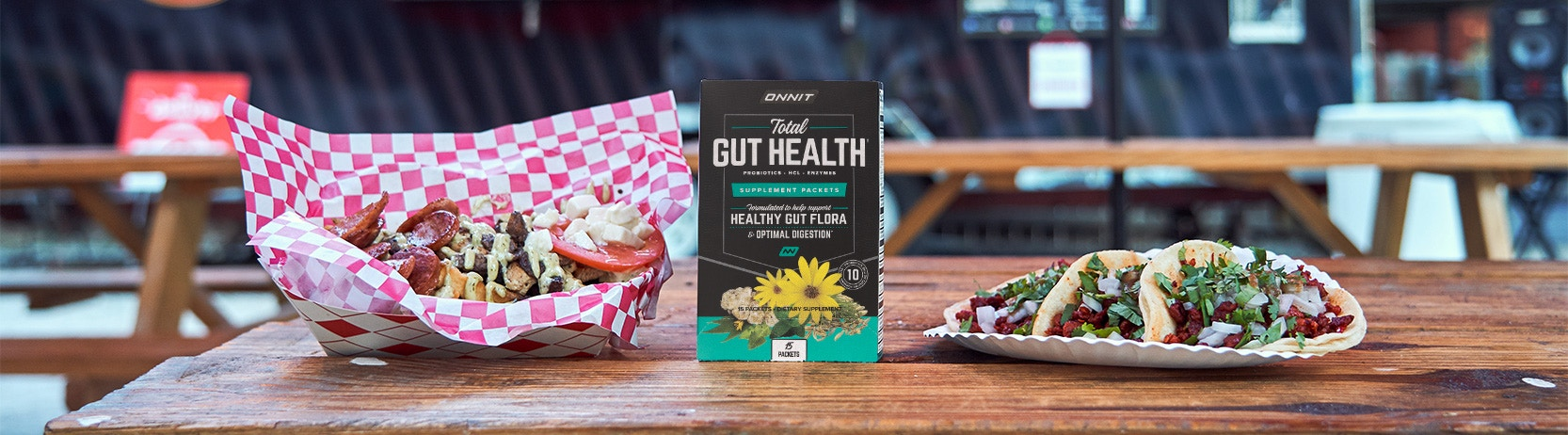 Delicious tacos and a box of Total Gut Health